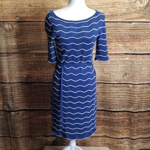 Trina Turk Royal Blue & White Serena Chevron Sz M